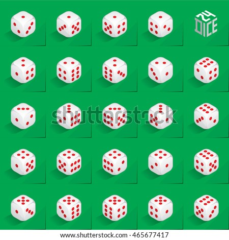 A Set of 24 Authentic Icons of Dice in All Possible Turns - Isometric White Cubes with Red Pips on Green Natural Paper Effect Background - 3d Illusion Gradient Graphic Stock photo ©