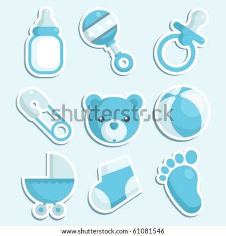 A set of baby boy icons.
