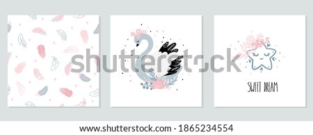 A set of baby cards with a cute Swan, star and a seamless feather pattern. Illustration in Scandinavian style. Posters for the children's room