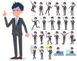 A set of bad condition businessman with who express various emotions.There are actions related to workplaces and personal computers.It's vector art so it's easy to edit.