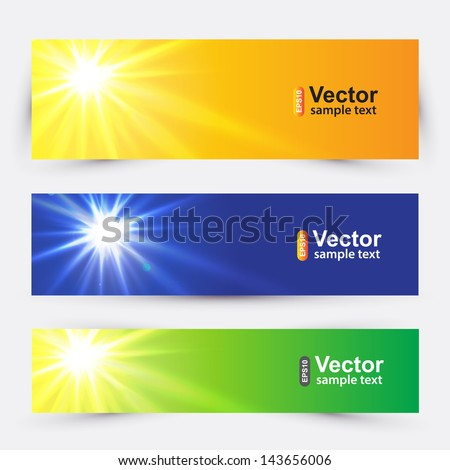 a set of banners with summer sun