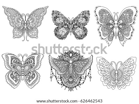 A Set Of Beautiful Unique Butterflies For Design Element And Adult Or Kids Coloring Book Page