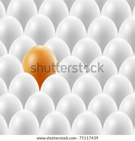 A set of beige eggs, one white. Vector.
