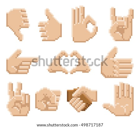 A set of 8 bit pixel art hand icons