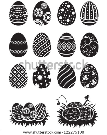 A set of black-and-white easter eggs decorated with ornament