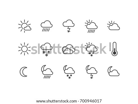 A set of black and white frameless weather icons