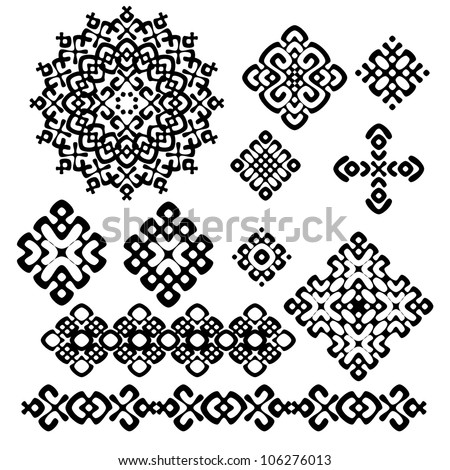 A set of black and white geometric designs 10. Vector illustration.