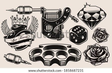 A set of black and white illustration for tattoo theme isolated on white background