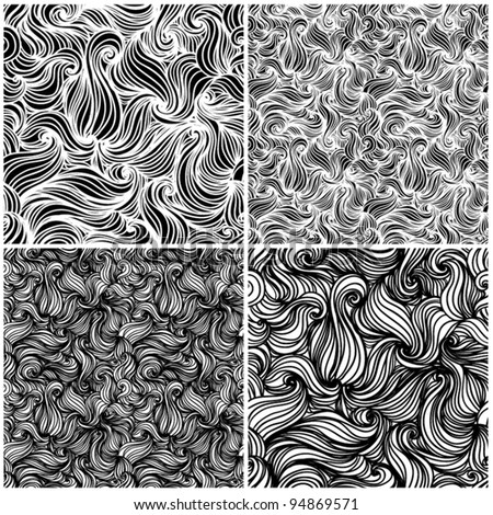 A set of black and white seamless abstract background texture waves background Wallpaper