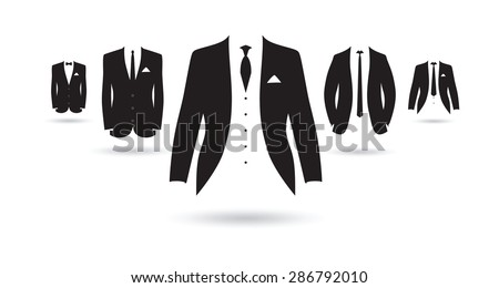a set of black and white suits