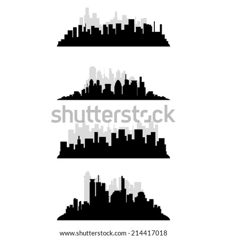 a set of black cityscapes on a