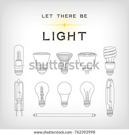 A set of 11 black light bulb icons of various shapes including incandescent, LED and halogen