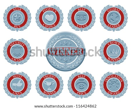 A set of blue and red winners award badges or medallions like those awarded in test or reviews or for product descriptions