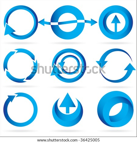 A set of blue arrow circle design element icons isolated on a white background.  EPS 8 file.