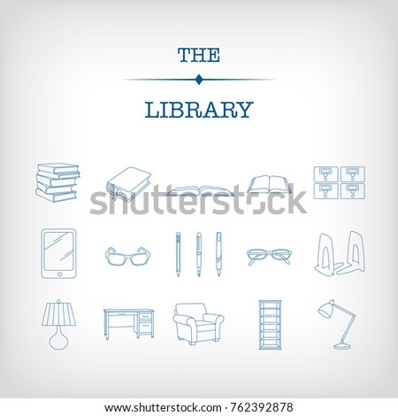 A set of 17 blue library icons that center around reading and studying, including books, desk, glasses, card catalog, lamps and writing