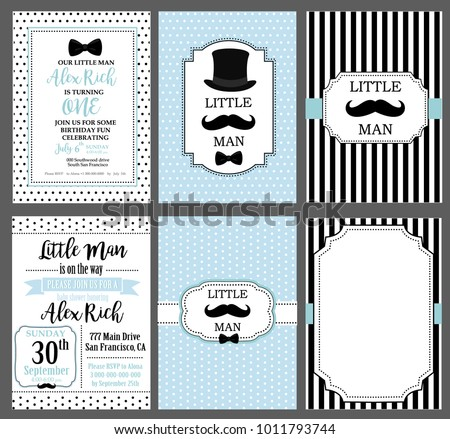 A set of blue, white and black templates for invitations. Collection of invite cards can be use for party(baby shower, father's day, wedding, birthday) Little man vintage style. Frames for boy's photo
