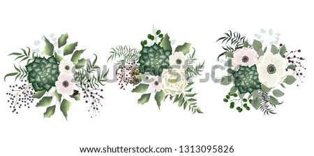 A set of bouquets of succulents, green plants, berries, anemone flowers, white rose. All elements are isolated. #1313095826