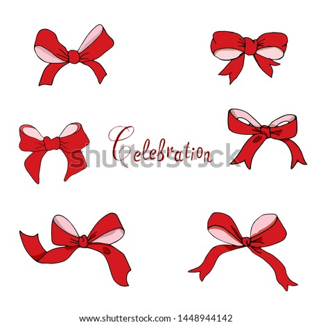 A set of bows handmade vector for creativity. Bows can arrange various items.