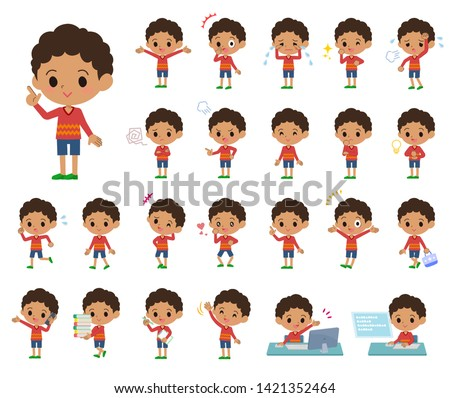 A set of boy with who express various emotions.There are actions related to workplaces and personal computers.It's vector art so it's easy to edit.