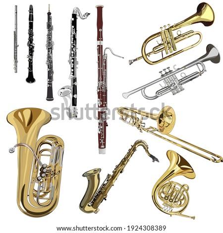 a set of brass and woodwind instruments: flute, clarinet, oboe, bass clarinet, bassoon, horn, trumpet, flugelhorn, trombone, saxophone, tuba. vector, realism Сток-фото ©