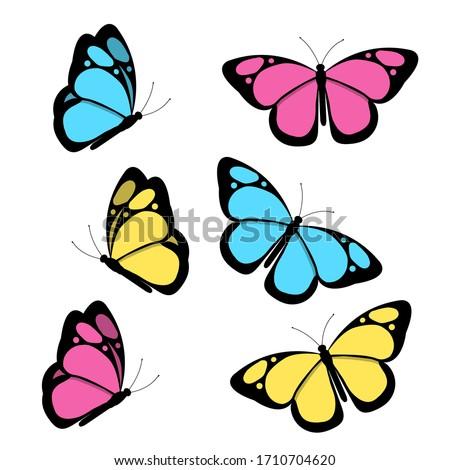 a set of bright butterflies