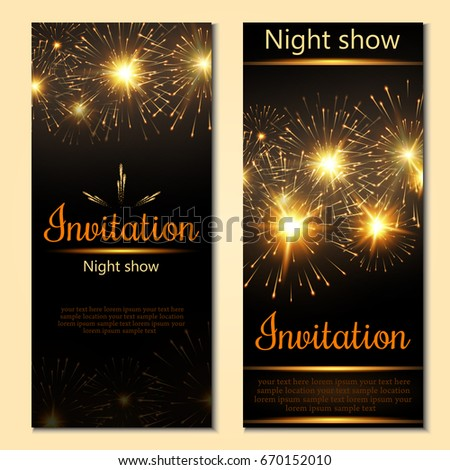 A set of 2 brochures of festive design. Invitation card with realistic fireworks. Vector. #670152010