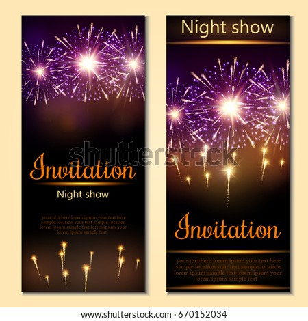A set of 2 brochures of festive design. Invitation card with realistic fireworks. Vector. #670152034