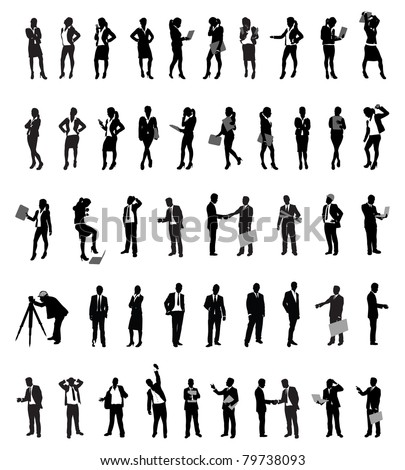 a set of business people silhouettes - stock vector