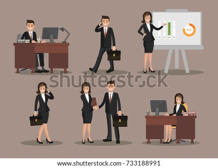A set of business people symbols. A man and a woman dressed in business suits. Businessman and businessman.