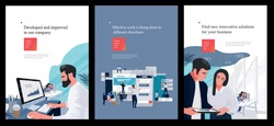 a set of business posters with vector flat illustrations about marketing and finance, covers for a brochure with images of work processes in companies