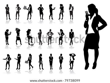 Woman Silhouette Vector Set Download Free Vector Art Stock