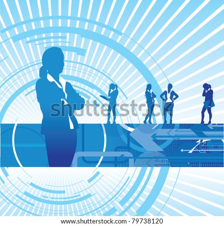 a set of business women on an abstract background