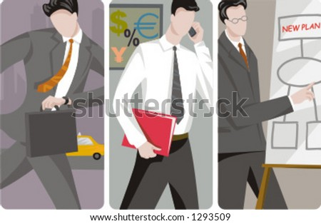 A set of 3 businessmen vector illustrations. 1) A businessman in a hurry for a business meeting 2) An investor speaking on a mobile phone and holding folders 3) A businessman making a presentation