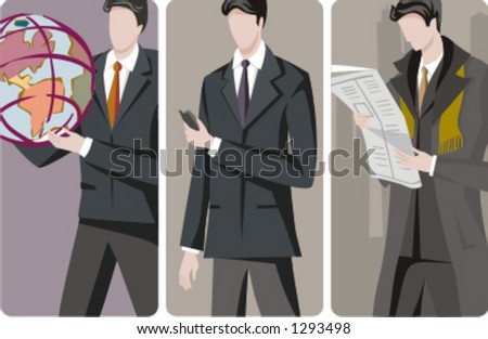 A set of 3 businessmen vector illustrations. 1) International development. 2) A businessman with a mobile phone. 3) A businessman reading a newspaper. - stock vector
