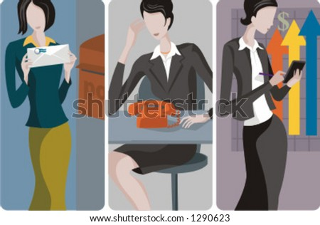 A set of 3 businesswomen vector illustrations 1) A businesswoman sending a letter 2) A businesswoman or a secretary working in the office  3) A businesswoman or an ??countant making calculations