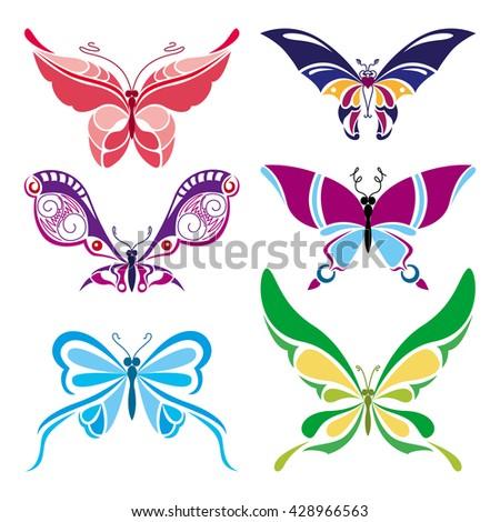 a set of butterflies in a