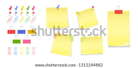 A set of buttons, pins, clips, clips. Paper notes pinned with button, pin. Stickers. Notes to the message.