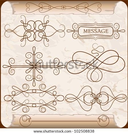 A set of calligraphic elements on the background of an old paper