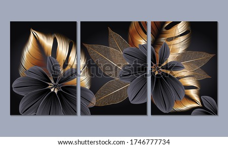 A set of 3 canvases for wall decoration in the living room, office, bedroom, kitchen, office. Home decor of the walls. Luxurious floral background with golden leaves monstera. Element for design.