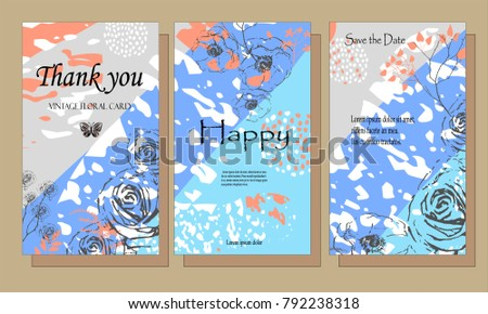 A set of cards with flowers , leaves. Vector illustration. Decorative invitation to the feast. Wedding, birthday.