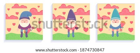 a set of cards with gnome for