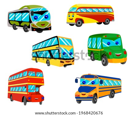 a set of cartoon buses with