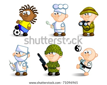 A set of cartoon figures, representatives of various professions. Footballer, chef, doctor, soldier, Karate, naturalist. Isolated on white background. Icons.
