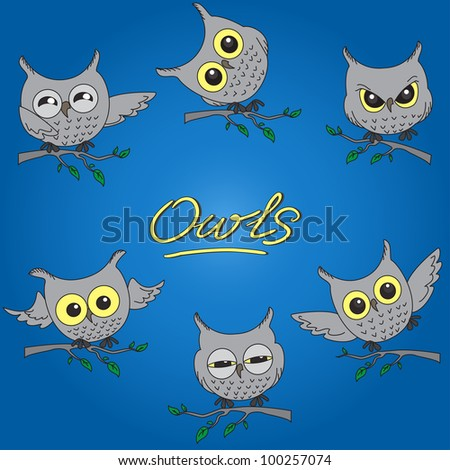 A set of cartoon owls in different moods