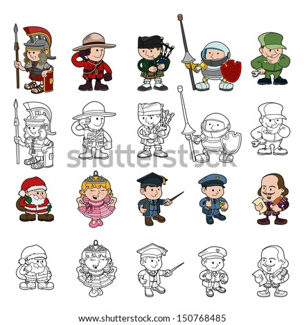 A set of cartoon people or children playing dress up. Color and black and white outline versions included.