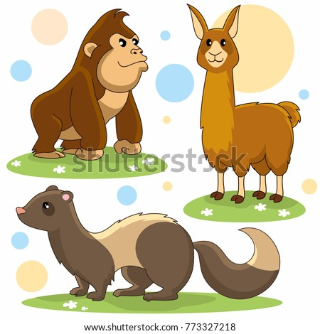 A set of cartoon pictures for children and design. Image of a chimpanzee, ferret and lama.