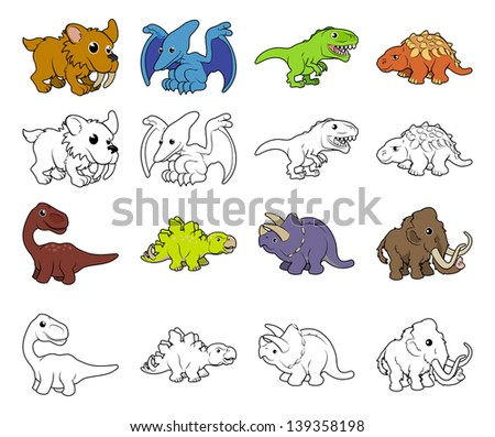 A set of cartoon prehistoric animal and dinosaur illustrations. Color and black an white outline versions.