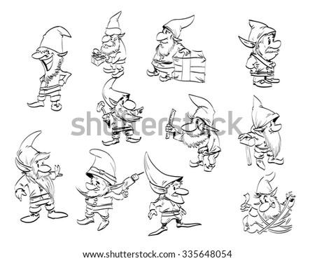 a set of cartoony line drawings