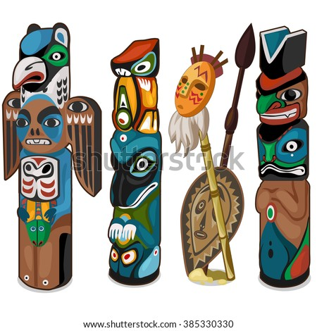 A set of ceremonial totems isolated on a white background. Cartoon vector close-up illustration.