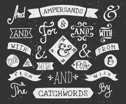 A set of chalkboard style catchwords and ampersands. Hand drawn words
